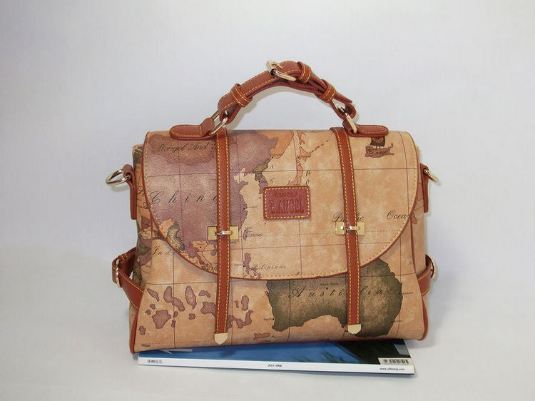 Vintage Travel Bag World Map Geometry Print Carry-On Shoulder Messenger Bag Handbags Designer Bags - Travell Well