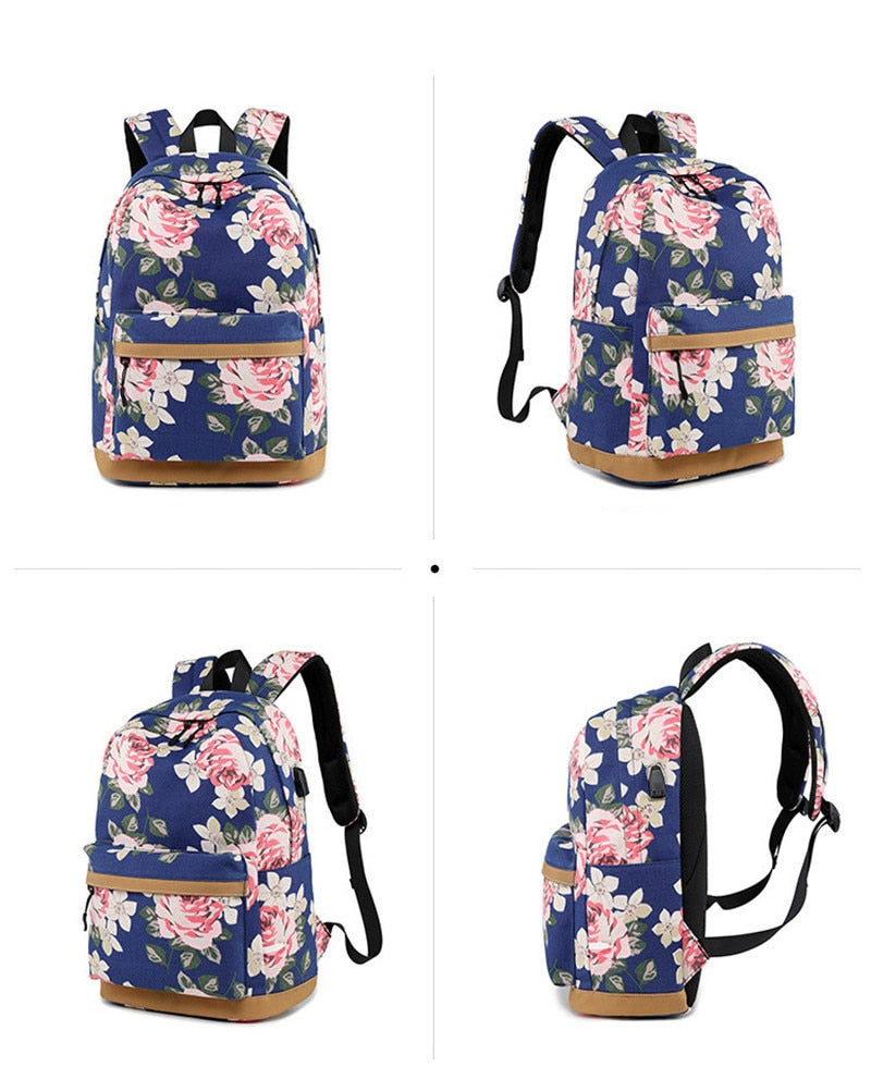 Women Designer Print Backpack External USB Charge Canvas Backpacks School Bag New Tech Backpack - Travell Well