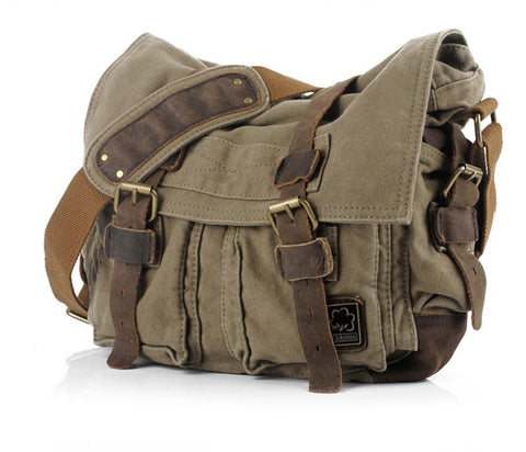 Designer Canvas Backpack Vintage Rucksack Sac à dos School Everyday Satchel Bag Khaki Tan | Green | Black