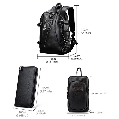 Quality Black Leather Backpack School Bag Laptop Work Daypacks Satchel Sac à dos Mochila Travel Bags