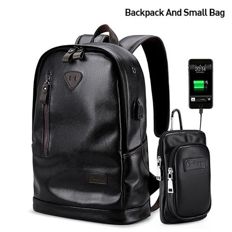 Quality Waterproof PU Black Leather Backpack Laptop Travel Bag Backpack Satchel Sac à dos Backpacks