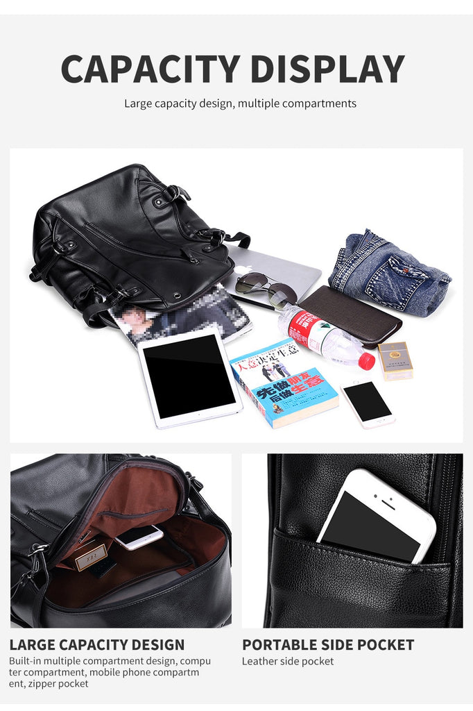 Top Quality Black Leather Backpacks External USB Charging Waterproof Travel Bags Carry-On Backpack - Travell Well