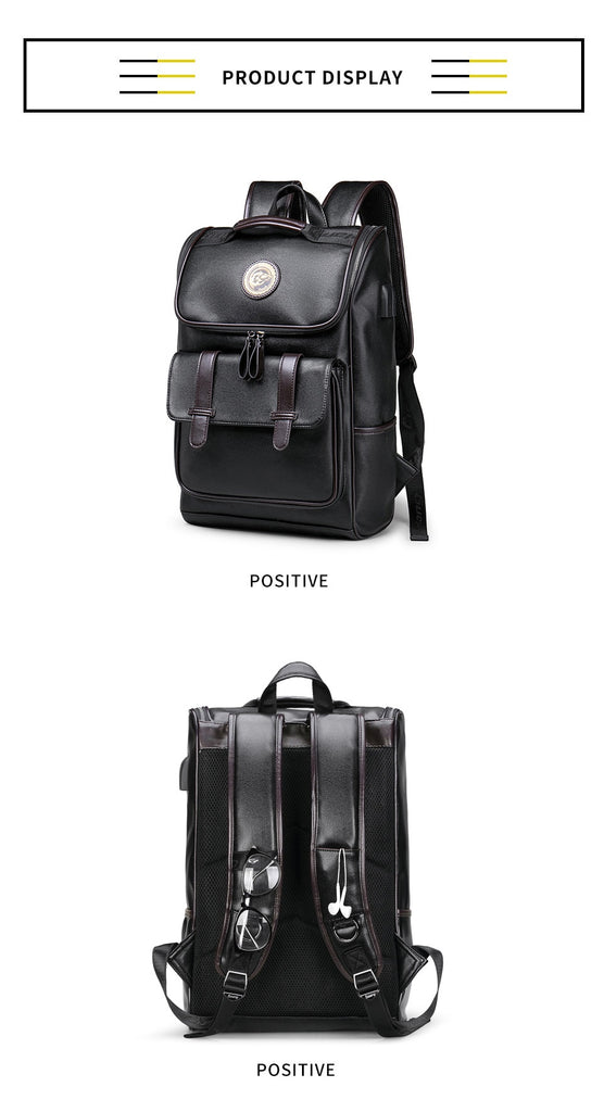 Top Quality Black Leather Backpacks External USB Charger Waterproof Travel Bag Carry-On Backpacks - Travell Well