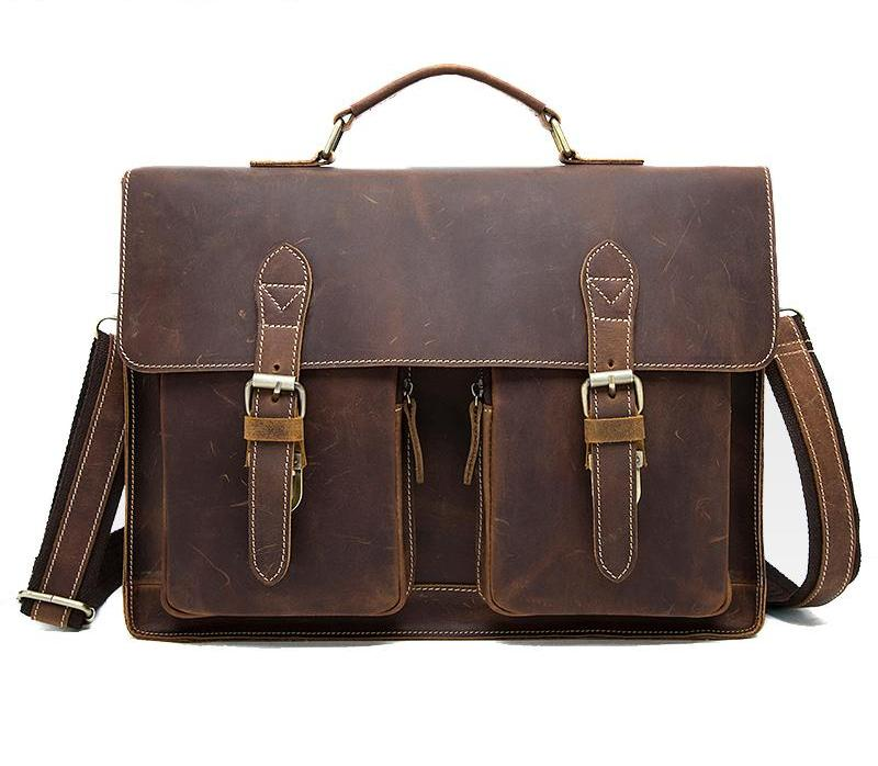Color : Yellow Mens Briefcase Laptop Crazy Horse Leather Crossbody Bag