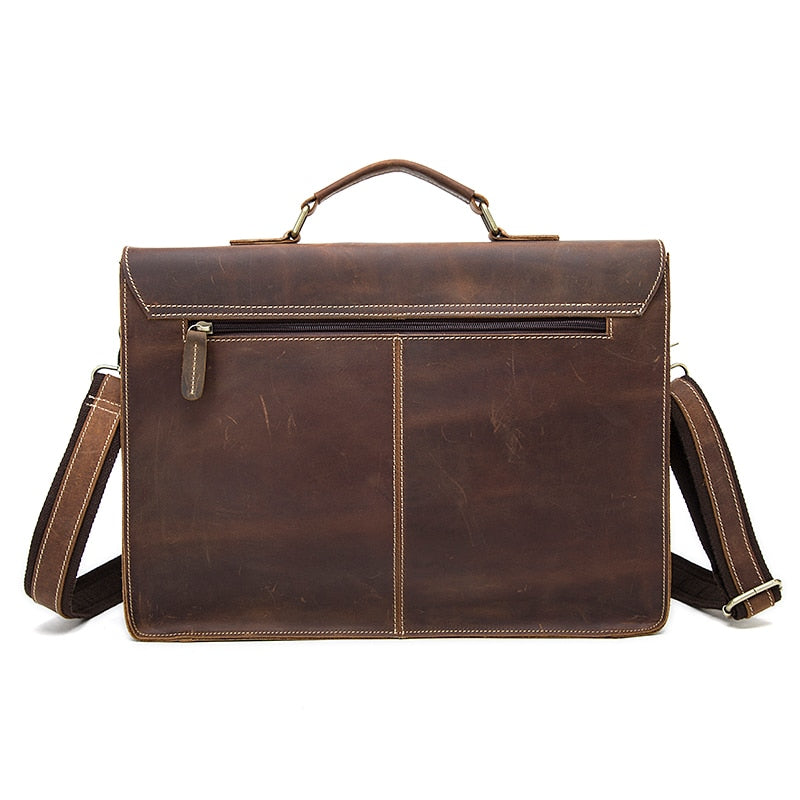 Mens Briefcase Crazy Horse Leather Messenger Laptop Bag Briefcases - Travell Well