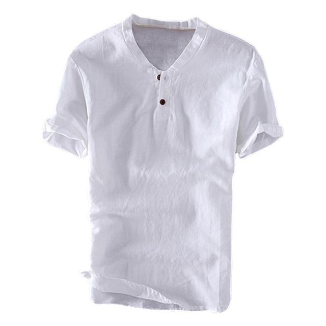 Men's Summer Shirts Basic Solid Color Slim Fit Button Shirt Lite Cotton Short Sleeve Men Tops M-3XL - Travell Well