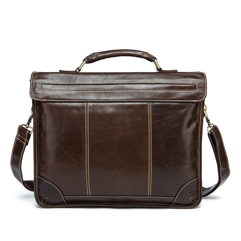 Vintage Leather Briefcase Classic Hasp Tote Crossbody Messenger Bag - Travell Well