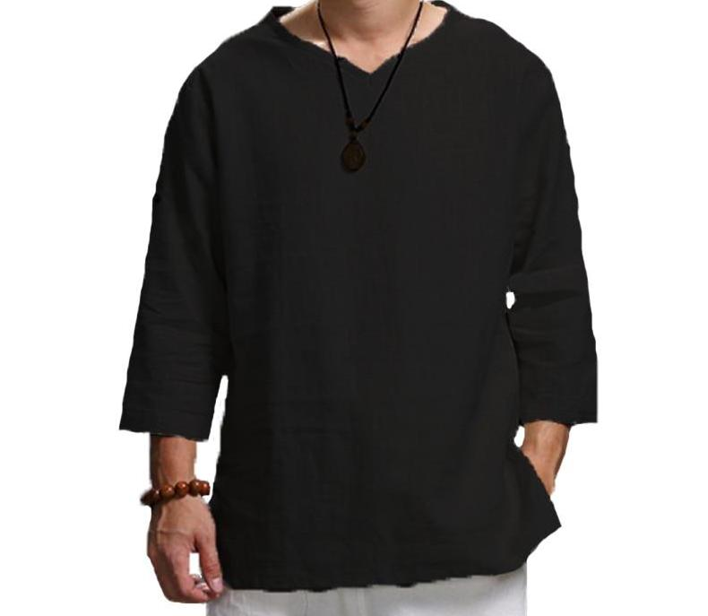 Men's V-Neck Vintage Shirts Hemp Cotton Qtr Long Sleeve Cultural Shirt Black Loose Fit Men Tops S-5X - Travell Well