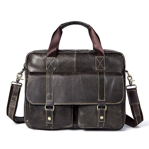 Genuine Leather Briefcase Laptop Messenger Shoulder Bags Briefcases - Travell Well