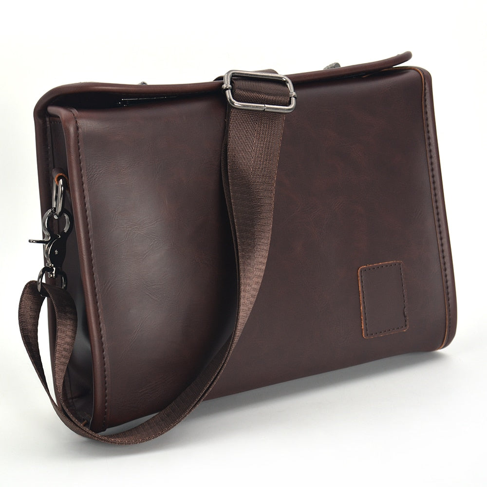 Men's Briefcase Vintage Leather Bussiness Crossbody Shoulder Bags - Travell Well