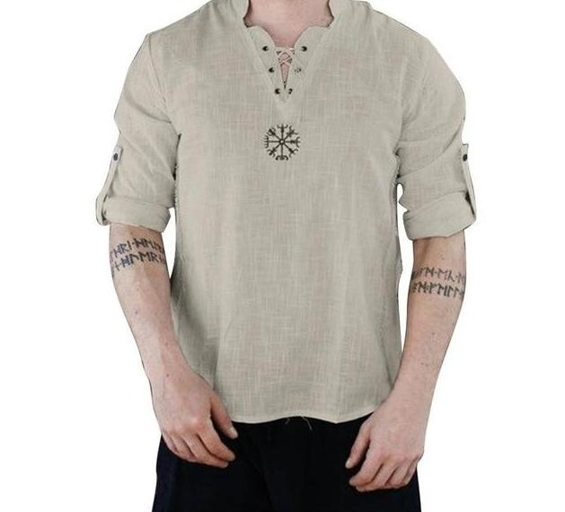 Mens Vintage V-Neck Lace Up Shirt Classic Long Sleeve Cotton Linen Mens Shirts Beige Top M-3XL - Travell Well