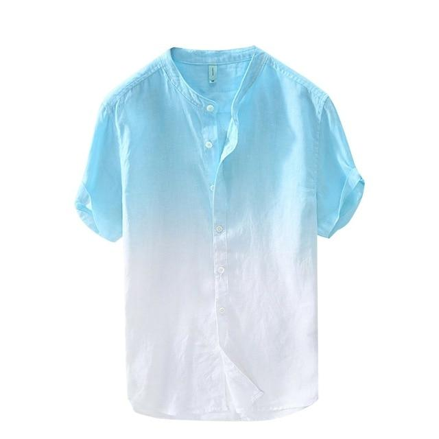 Stylish Summer Men's Shirt Cool Light Cotton Button Collar Green Gradient Dye Color Mens Top M-3XL - Travell Well