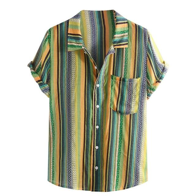 Mens Button Shirt Colorful Green Lime Stripe Collar Short Sleeve Loose Henley Men Shirts Tops M-3X - Travell Well