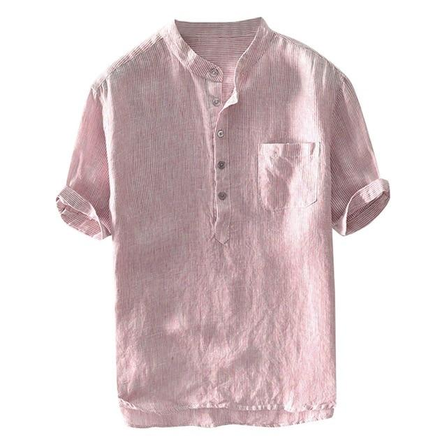 Mens Stripe Shirts Baggy Breathable Cotton Linen Short Sleeve Button Pocket Gray Shirt Tops M-3XL - Travell Well