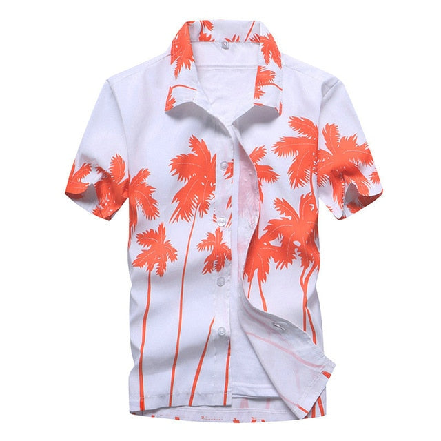 Pink Button Shirt Beach Island Vacation Men Shirts Hawaiian Vintage Coconut Palm Tree Short Sleeve Button Down Mens Tops - Travell Well