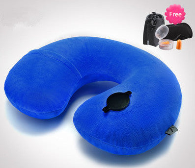 Quality Travel Pillow Neck Rest Navy Blue Inflatable Airplane Neck Pillow Comfortable Pillows - Travell Well
