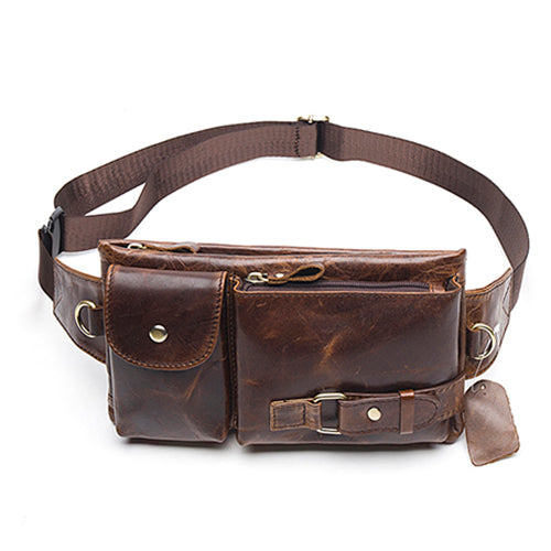 Genuine Leather Travel Wallet Waist Packs Belt Bag Phone Quality Leather Fanny Pouch Pack Waist Bags - Travell Well