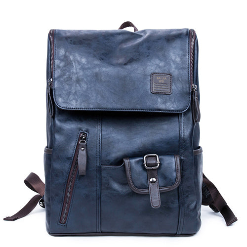 Stylish Bag Oil Wax Leather Backpacks Fashion School Bags Rucksack Mochila Zip Casual Black Brown Blue Leather Travel Daypacks - Travell Well