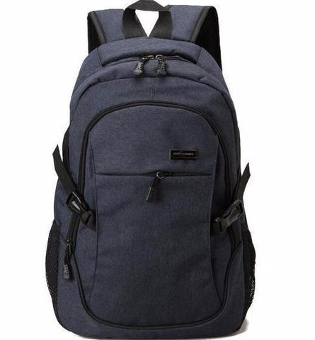 Quality Canvas Designer Backpack Genuine Leather Trims Vintage Rucksack Travell Well in Stylish Blue Satchel