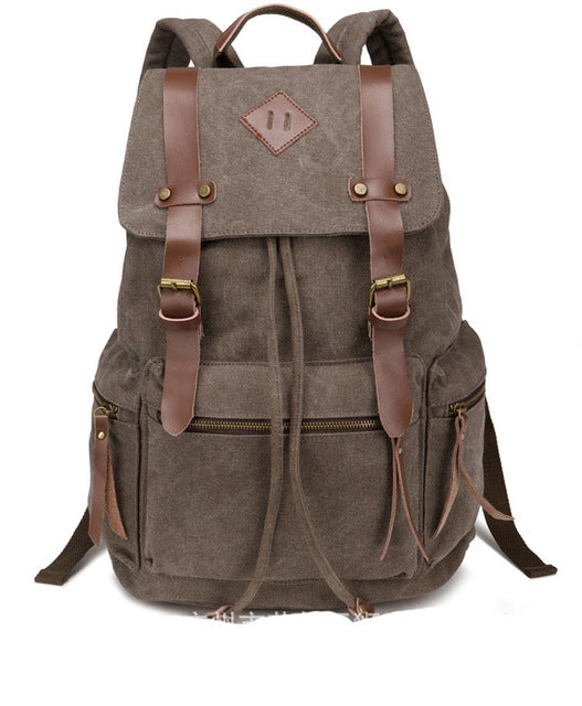 New Canvas Vintage Backpack Rucksack Leather Military Men Women's School Bag Mochilas Laptop Backpack Escolares Multi-Colors - Travell Well