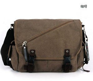 Vintage Men's Black Messenger Bags Canvas Shoulder Bag Briefcase Crossbody Bag Travel Bags - Travell Well