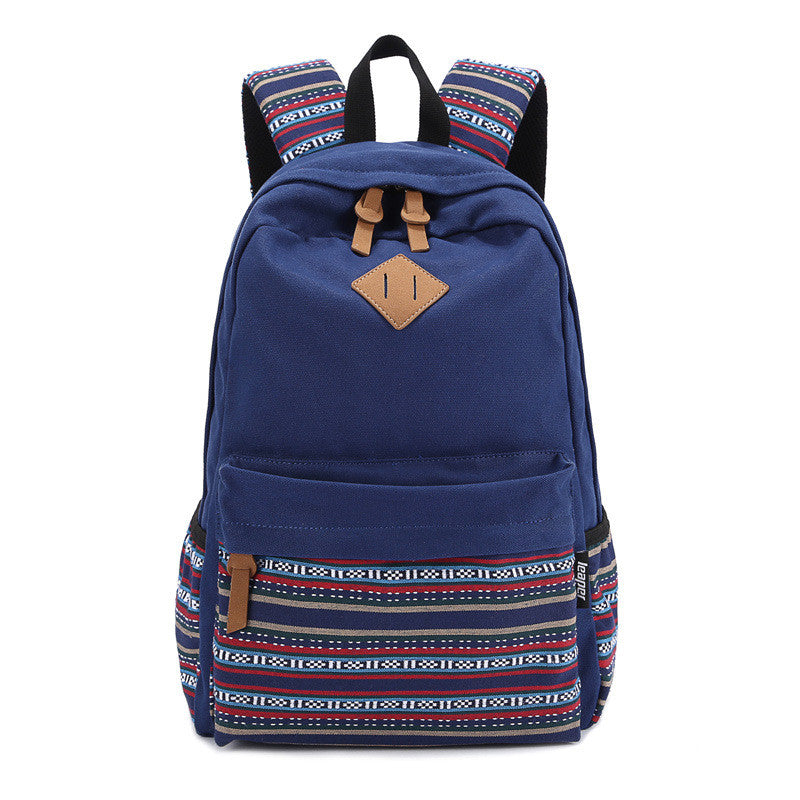 Blue Canvas Floral Backpacks Printing Culture Tribal Native Pattern Designs School Bags for Women Teenage Girls Cute Rucksack Mochila's Vintage Laptop Backpacks Bags - Travell Well