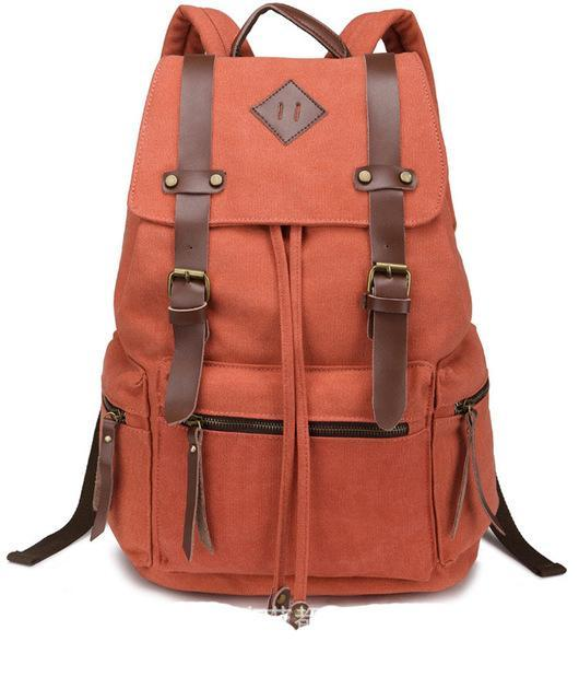 962c3e694d03 Orange Canvas Vintage Backpack Rucksack Leather Military Men Women s School  Bag Mochilas Laptop Backpack Escolares Multi-Colors