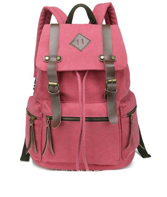 0cba8cfab Pink Canvas Vintage Backpack Rucksack Leather Military Men Womens School  Bags Girls Mochilas Laptop Backpack Escolares Multi-Colors