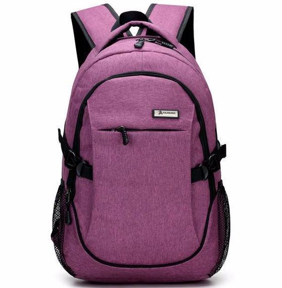 Designer Purple Backpack Rucksack USB Charger Anti-theft Waterproof Backpacks Men Women Quality Bag - Travell Well