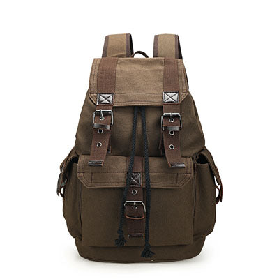 Canvas Backpack Vintage Style Quality Backpacks School Laptop Travel Bag Large Capacity Rucksack Mochila Black | Khaki | Brown - Travell Well