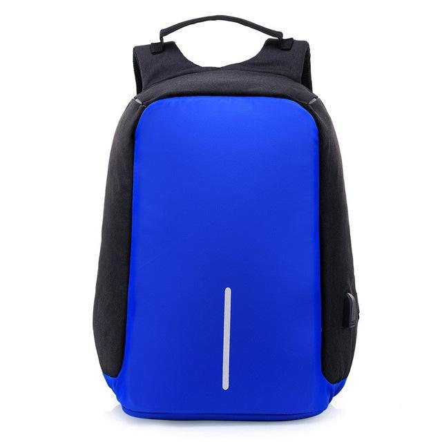 Anti-Theft Laptop Backpack Blue with USB Charging Port Waterproof Cut Resistant Quality Rucksack Multifunctional Travel Pack - Travell Well