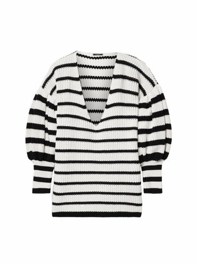 STRIPED V-NECK KNIT TOP