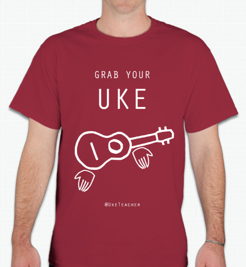 Grab Your Uke! Unisex T-Shirt (Maroon)