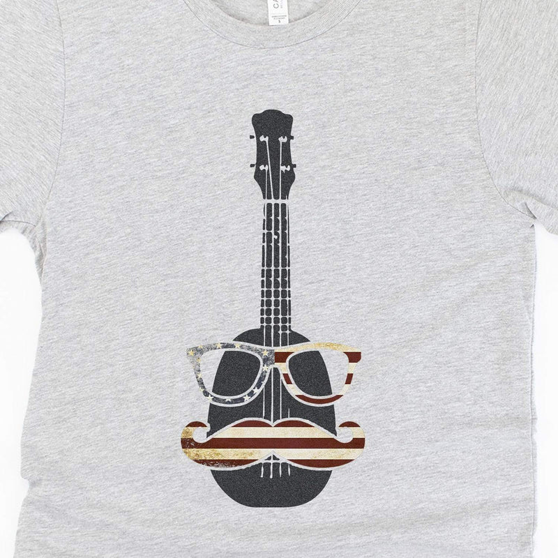 www.UkuleleTees.com Shirts 4th of July Hipster Ukulele Unisex T-Shirt