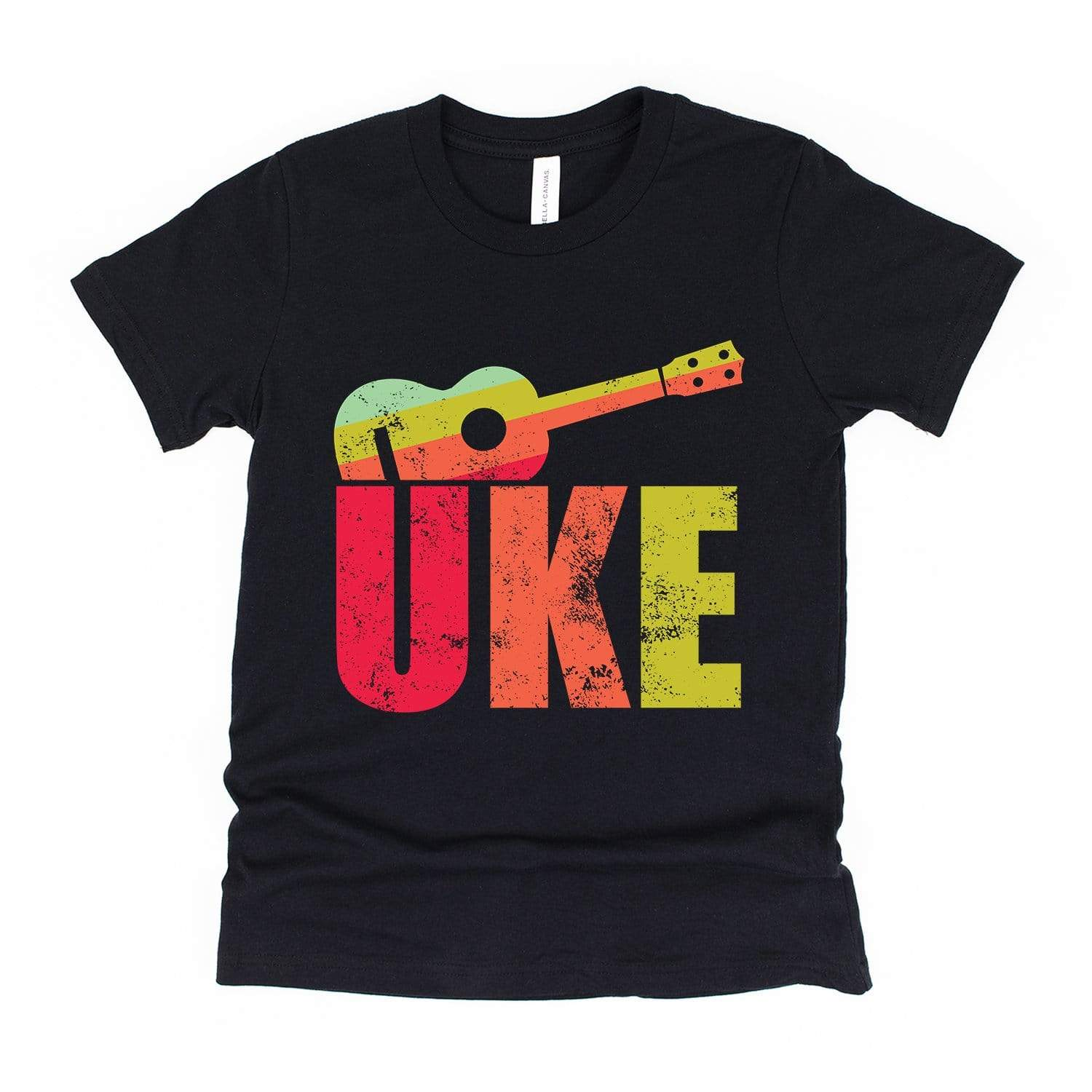 www.UkuleleTees.com Shirts Kids Distressed Big UKE Youth Unisex T-Shirt