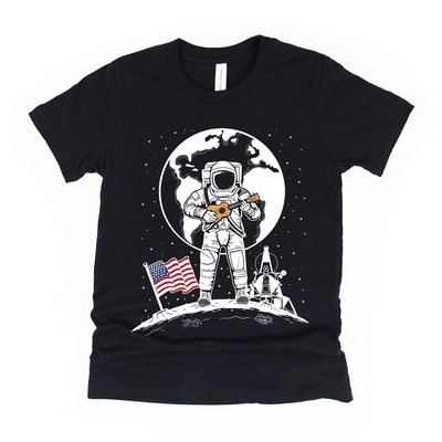 www.UkuleleTees.com Shirts Kids One Small Uke For Man 50th Anniversary Moon Landing Unisex T-Shirt