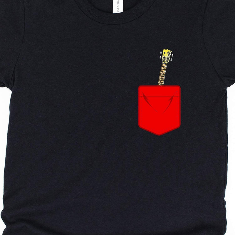 Kids Red Mock Pocket Ukulele Youth Unisex T-Shirt
