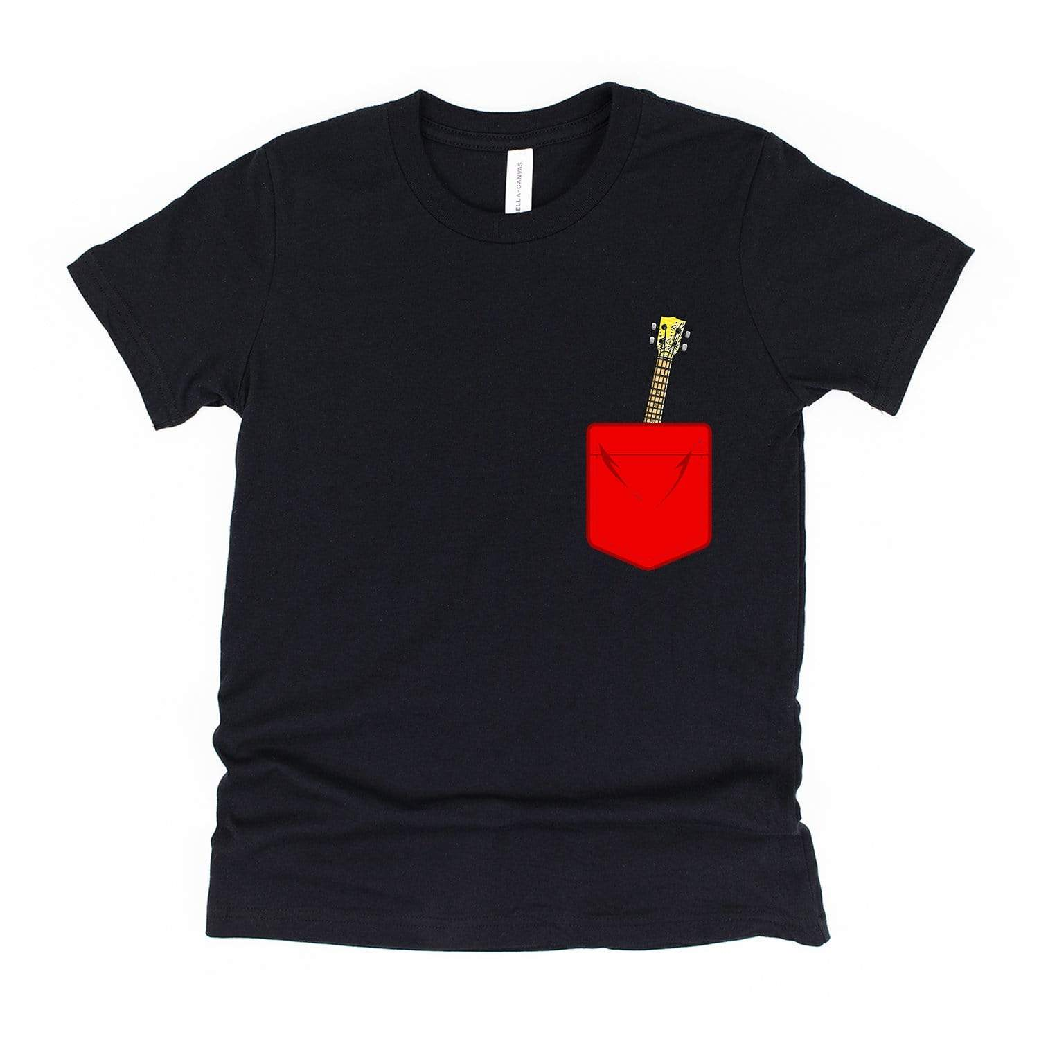 www.UkuleleTees.com Shirts Kids Red Mock Pocket Ukulele Youth Unisex T-Shirt