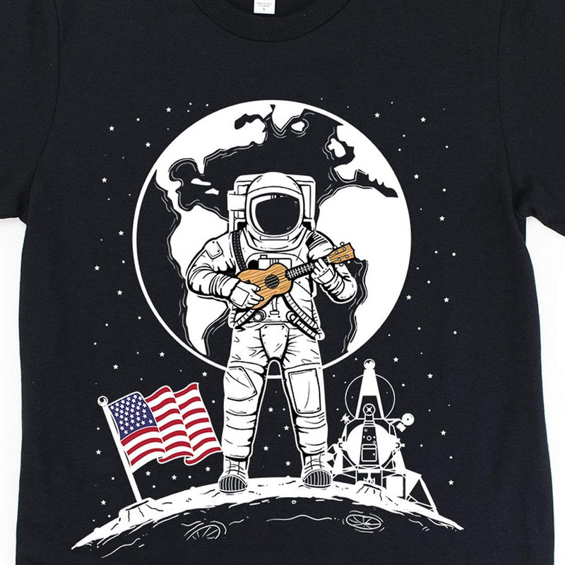 www.UkuleleTees.com Shirts One Small Uke For Man 50th Anniversary Moon Landing Unisex T-Shirt
