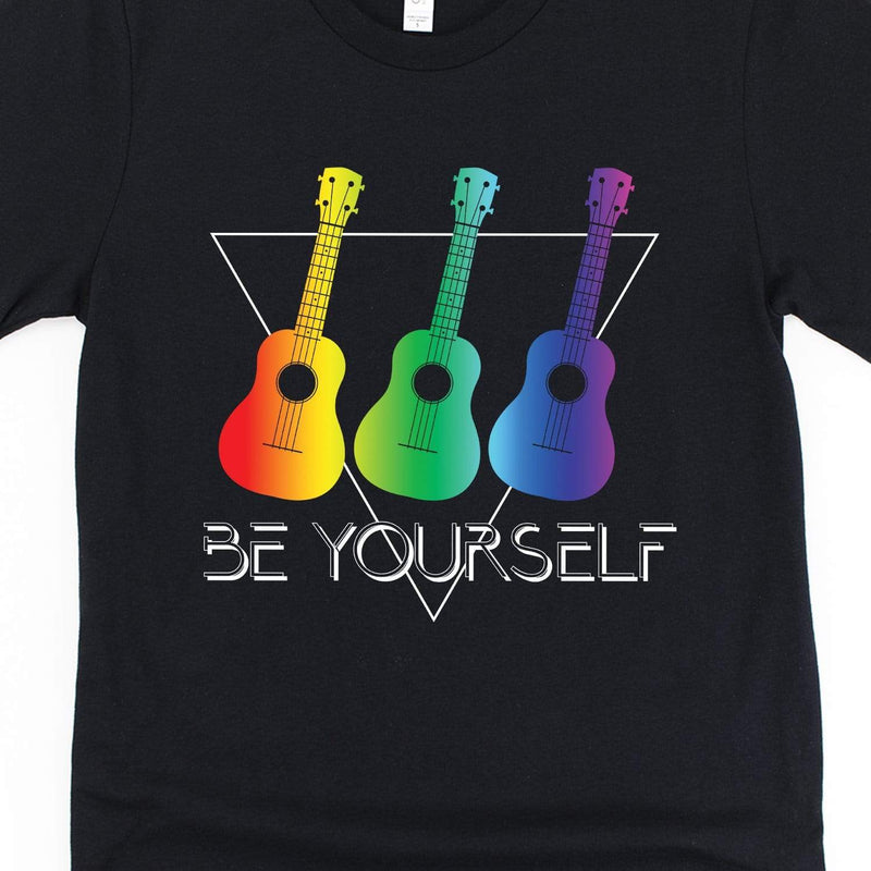 www.UkuleleTees.com Shirts Pride Rainbow Triangle Be Yourself Ukulele Unisex T-Shirt