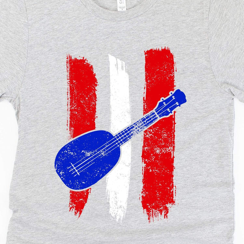 www.UkuleleTees.com Shirts Red White And Blue Ukulele Flag Unisex T-Shirt