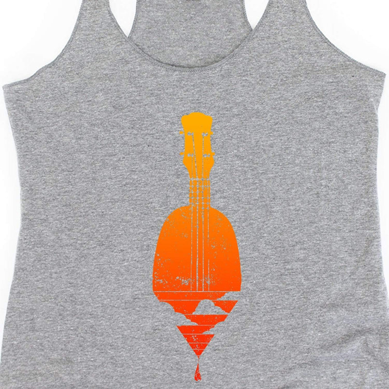www.UkuleleTees.com Tank Top Sunset On the Water Ukulele Womens Racerback Tank Top