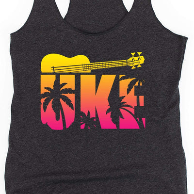 www.UkuleleTees.com Tank Top Tropical Big UKE Womens Racerback Tank Top