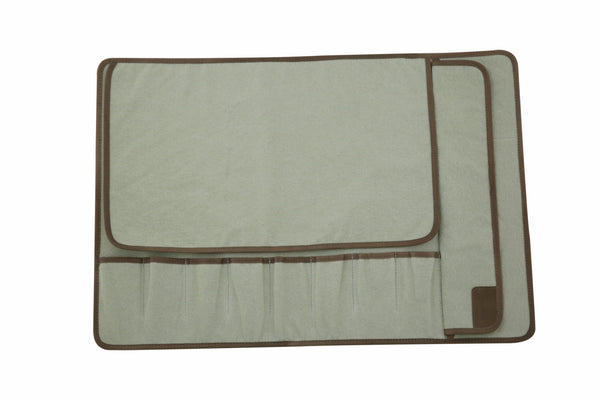 Eight Pocket Knife Roll - Light Green Canvas