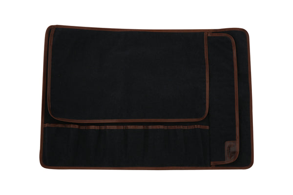 Eight Pocket Knife Roll - Black/Night Blue Canvas