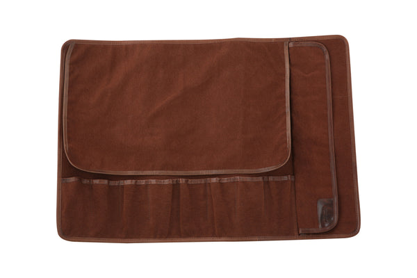 Eight Pocket Knife Roll - Brown Canvas