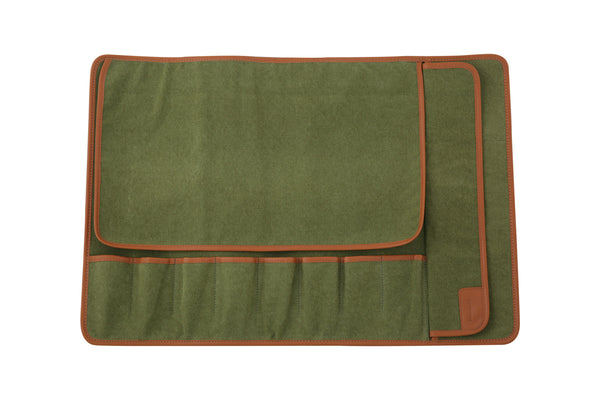 Eight Pocket Knife Roll - Green Canvas