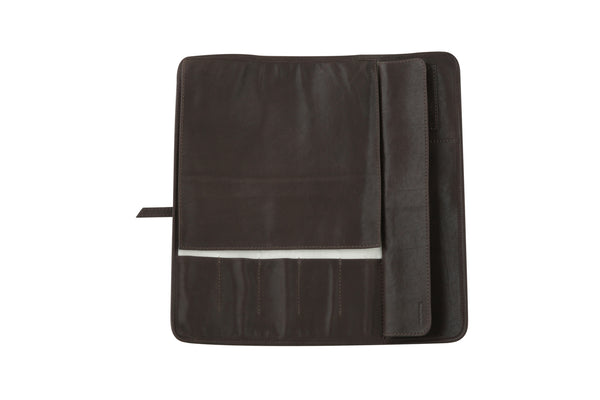 Five Pocket Knife Roll - Brown Leather