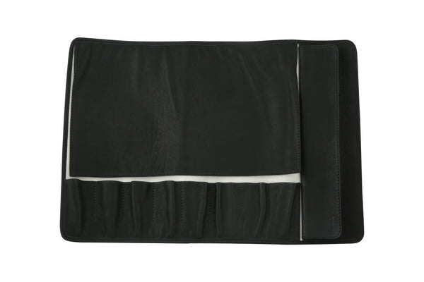 Eight Pocket Knife Roll - Black Leather