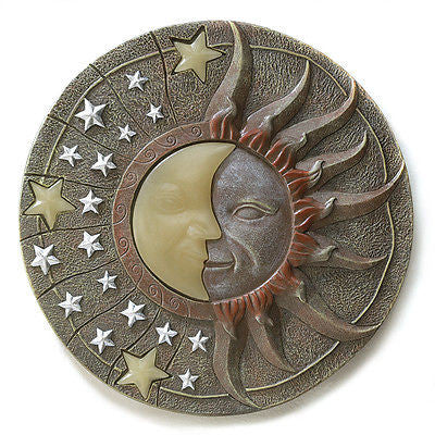 "10.5"" Celestial moon Stars Glow Dark Stepping Stone Wall Plaque"